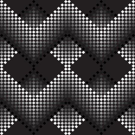 seamless tile: Seamless vector black and white monochrome pattern of small squares. Abstract geometric monochrome seamless pattern. Decorative Background. Illustration