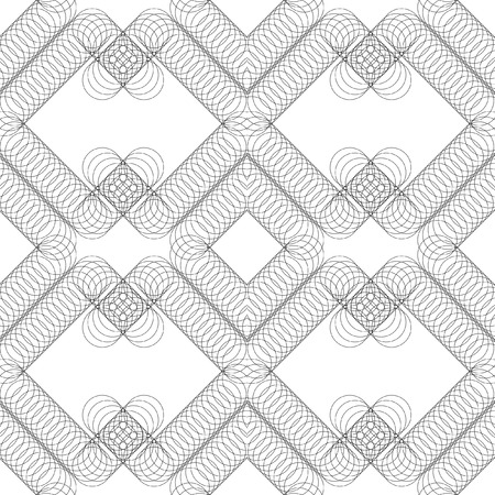 plurality: Seamless vector geometric pattern from a plurality of thin rings. Black pattern on a white background. Four seamless pattern element. Seamless black and white abstract circle pattern design background