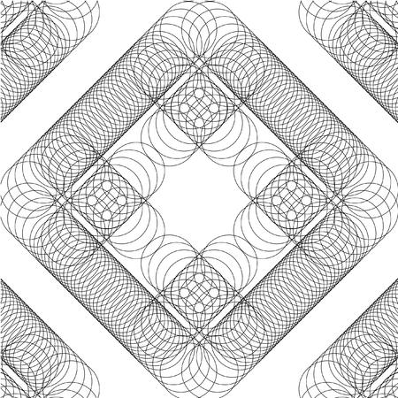 Motif géométrique vectorielle continue d'anneaux minces. Motif noir sur un fond blanc. Quatre élément de modèle sans couture. Arrière-plan de conception transparente motif cercle abstrait noir et blanc