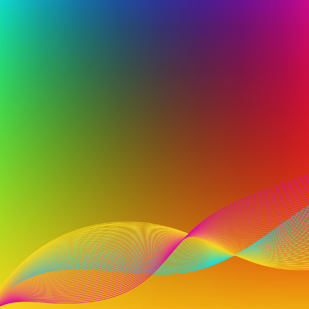 undulating: Bright gradient background. Mesh. Red, blue, green, yellow and purple hues. Undulating lines of bright pink, blue and yellow.