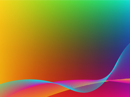 hues: Bright gradient background. Mesh. Red, blue, green, yellow and purple hues. Undulating lines of bright pink, blue and yellow.
