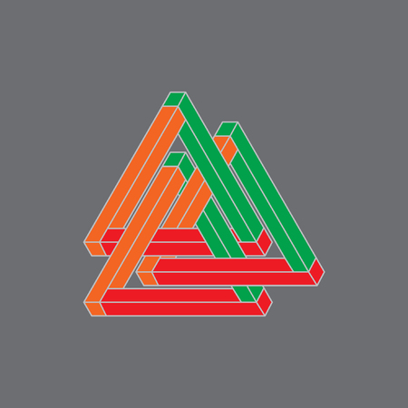 psychical: Optical Illusion, impossible geometry. Vector Illustration