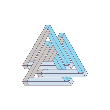 Optical Illusion, impossible geometry. Vector Illustration isolated on white