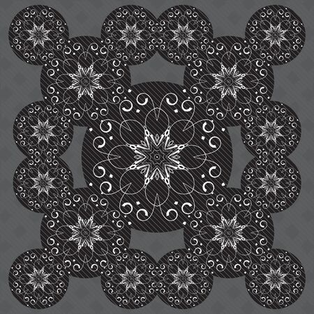 cushions: Vector pattern of mandalas. Black and white ornate oriental ornament. Illustration can be used for cushions, backgrounds, textiles, shawl, wallpaper.