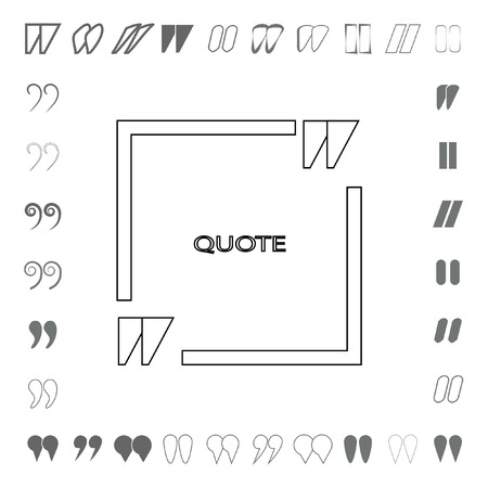 cite: Quote form, paper sheet, information or text. Empty template, vector set. Quote blank template, form Designer.
