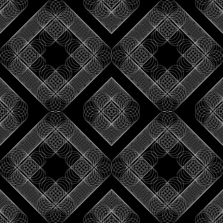 Seamless vector geometric pattern from a plurality of thin rings. White pattern on a black background. Four seamless pattern element