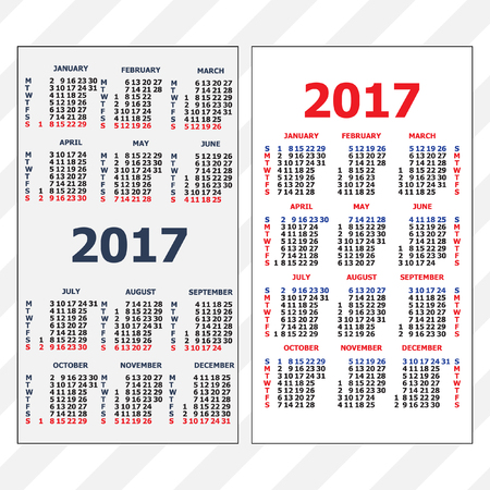 2017 Pocket Calendar Template Calendar Grid Vertical And