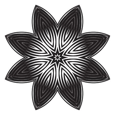 decorative items: The black-white round floral pattern. Geometric fashion pattern. The circular pattern. Decorative items to decorate your work
