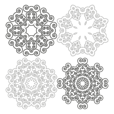 Round pattern. Black and white design elements. Spirals. Floral motifs and design elements in swirl style isolated on white. Vector