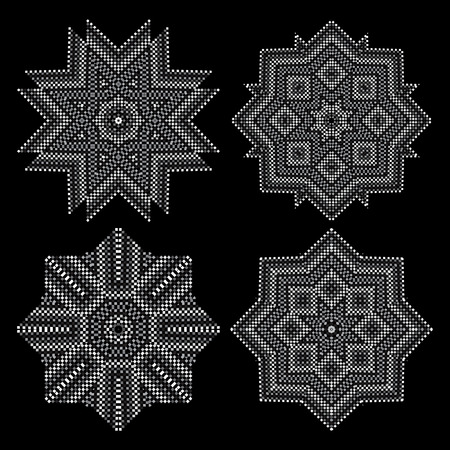 no gradient: A circular pattern of small squares. Black-and-white drawing. No gradient. Set of 4 elements Illustration