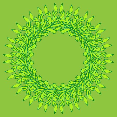 skyblue: Green leaves fresh spring wreath background. Wreath of spring green leaves on green background Illustration