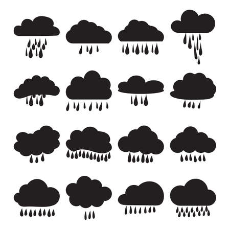 white clouds: Icon set - rain clouds and rain. A set of frames in the form of clouds. Clouds set of black and white icons. Vector illustration.