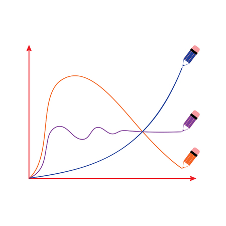 The stylized vector image of a graphical economic Graphics: sinusoid, parabola and exponential growth