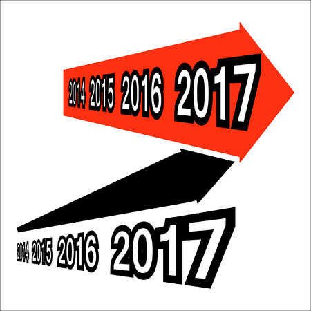 upright: 2014-2015-2016-2017. Two elements: increasing the red arrow and black growing up-right arrow. The Higher and higher every year Illustration