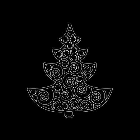 christmas tree illustration: Stylized Christmas tree. Vector illustration. Illustration
