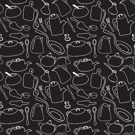 coffee pot: Kitchen art design vector illustration. Seamless black and white pattern. Cookware: kettle, coffee pot, frying pan, cup, spoon, sugar bowl, fork, ladle. Hand drawn doodle design elements.