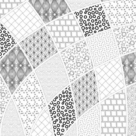 black textured background: Black and white vector drawing in the style of patchwork. Monochrome elegant pattern in black and white.
