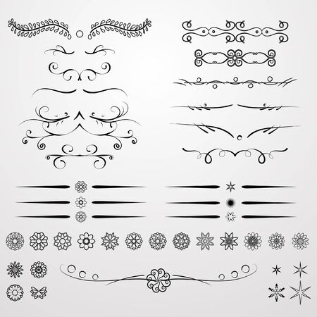 fleuron: A diverse collection of vector dividers, bumpers, frames, ornaments. Floral elements. Divider set isolated on white. Calligraphic design elements. Illustration