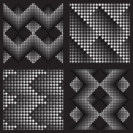 small group of objects: Seamless pattern of small squares. Vector background. Black-and-white drawing. No gradient. Set of 4 elements Illustration