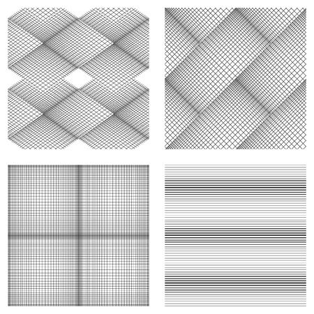 fine lines: Seamless pattern of fine lines. Vector background. Black-and-white drawing. Set of 4 elements