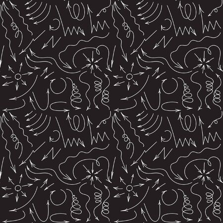 Vector hand drawn by pen arrows elements for your design. Doodle sketched style. Black and White design. Hand-drawn doodle seamless pattern with arrows Illustration