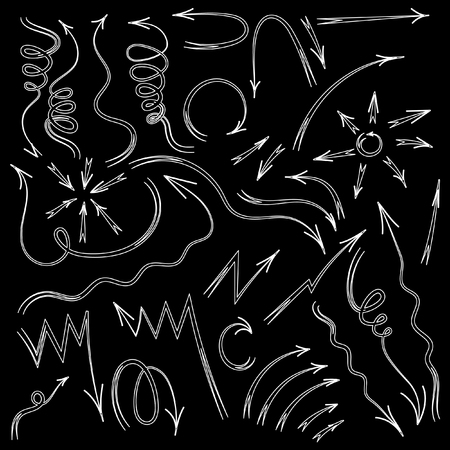 sketched arrows: Arrows set. Vector hand drawn by pen arrows elements for your design. Doodle sketched style. Black and White design