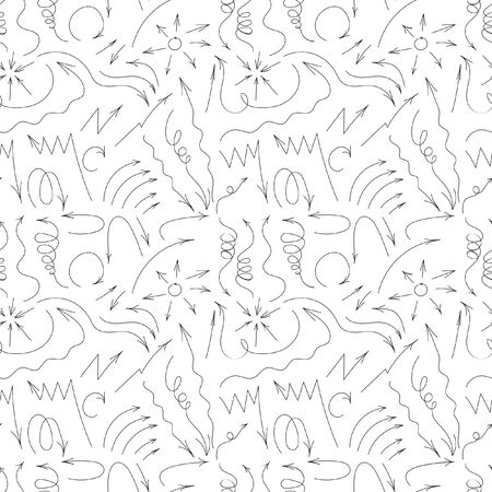 sketched arrows: Vector hand drawn by pen arrows elements for your design. Doodle sketched style. Black and White design. Hand-drawn doodle seamless pattern with arrows Illustration