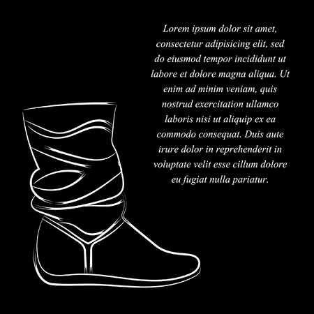 Womens boots without a heel high soft top. The white pattern on a black background. With space for text. Vector.