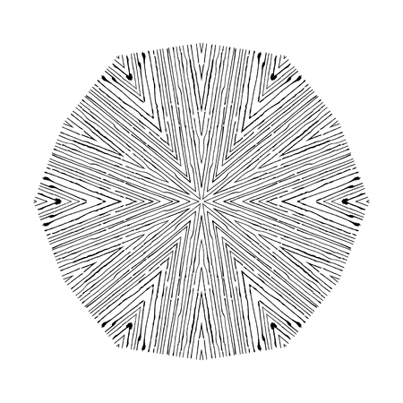 manmade: Vector circular pattern in grunge style. Lined pattern. Hipsters, boho, rustic. Techno mandala Illustration