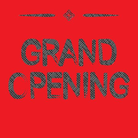 grand sale sticker: Grand Opening text with red background - vector