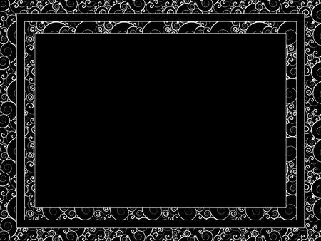 Rectangular frame. Black and white vector pattern. Illustration
