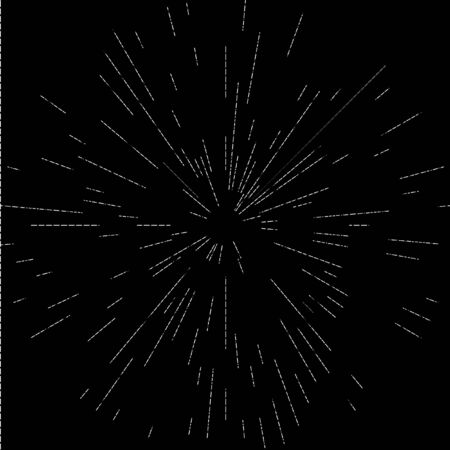 Cosmic Blast. Black and white vector illustration