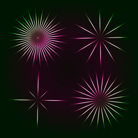 spot lit: Bright flashes of colored stars on a dark background and transparent. Vector design elements Illustration