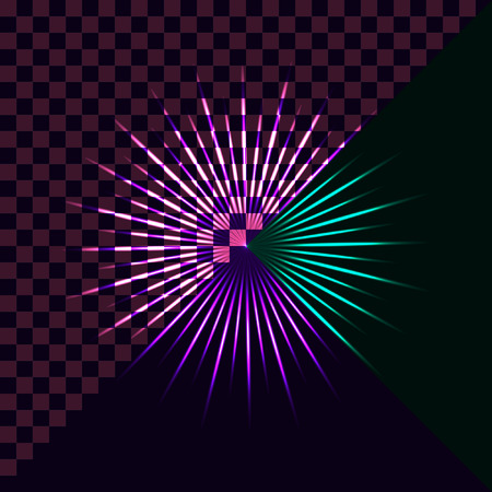 Bright flashes of colored stars on a dark background and transparent. Vector design elements Illustration