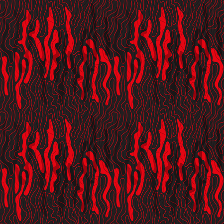 Seamless abstract vector pattern. Black-and-red drawing. Thin red wavy line on a black background.