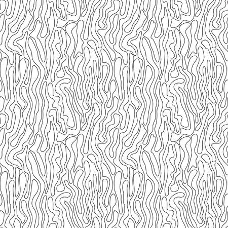 Seamless abstract vector pattern. Black-and-white drawing. Thin black wavy line on a white background. Illustration