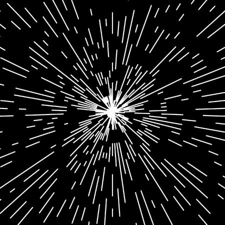 meteorite: Flash, outbreak, stylized cosmic blast. Black and white vector illustration