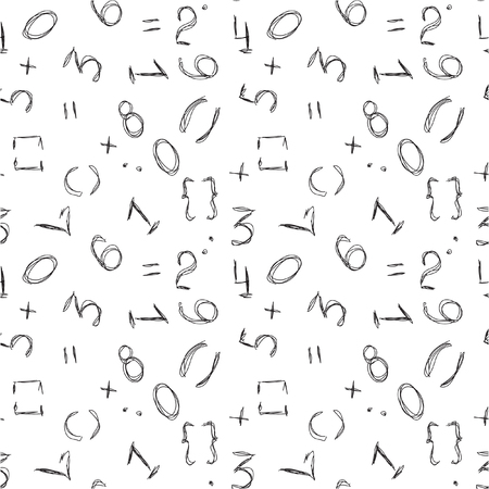 Numbers background. Mathematical seamless pattern. Numbers - vector wallpaper on white.