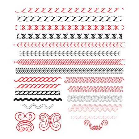Calligraphic borders, patterns, and ornament corners. Vector pattern brushes set. 21 decorative elements for the design works. It can be used as separate elements or brushes Illustration