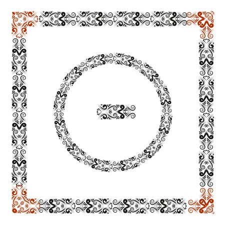 reverse: Round and square frames. In the center - a red graphic element to create a frame