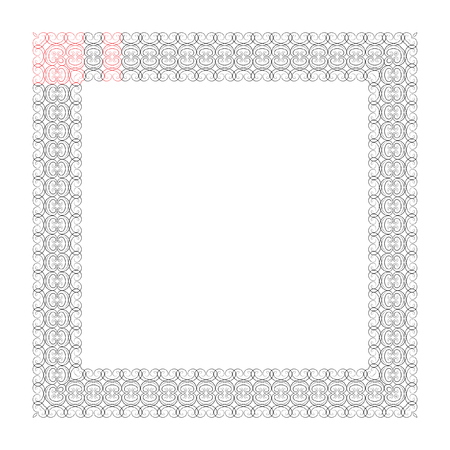 Vector abstract silver openwork squar frame. Wavy pattern with geometrical order. Silver, shiny metal twinkles on a light background.