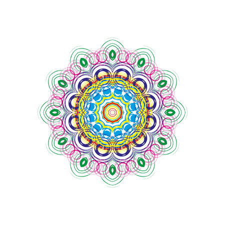 patten: Mandala, circular pattern. A pattern from color spirals for your designs. Spirals and patten elements of red, blue and green color. Vector pattern.