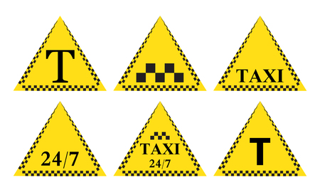 Taxi stylish set of 6 stickers,  and icons