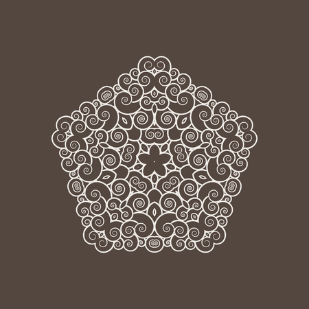 Patterned pentagon of small spirals. Vintage. Design organic natural motifs. Illustration