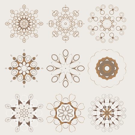 Mandala - circular pattern. Vector pattern with spiral elements for design work. Spirals and pattern elements. Set.