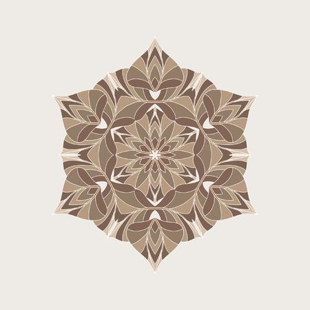 chaotic: Mandala - circular vector pattern. Round Ornament Pattern. Beautiful circular pattern for your design in brown tones.