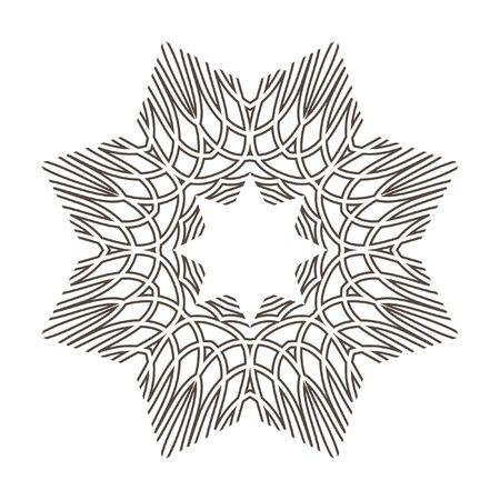 Monochrome Mandala. Geometric vector circular pattern. Figure out wavy lines. Illustration