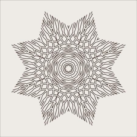 revolve: Monochrome Mandala. Geometric vector circular pattern. Figure out wavy lines. Illustration