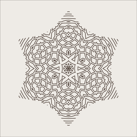 revolved: Monochrome Mandala. Geometric vector circular pattern. Figure out wavy lines. Illustration