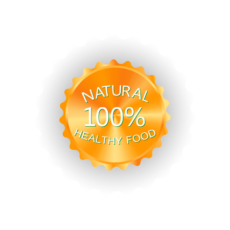 The organic product. Natural products. Without chemical additives. The emblem on a white background. Illustration